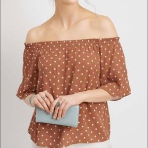 Maurice's brown white polkadot offthe shoulder top